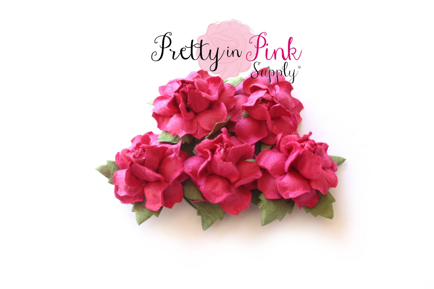 1 Premium Hot Pink Paper Flowers Wire Paper Flowers Etsy