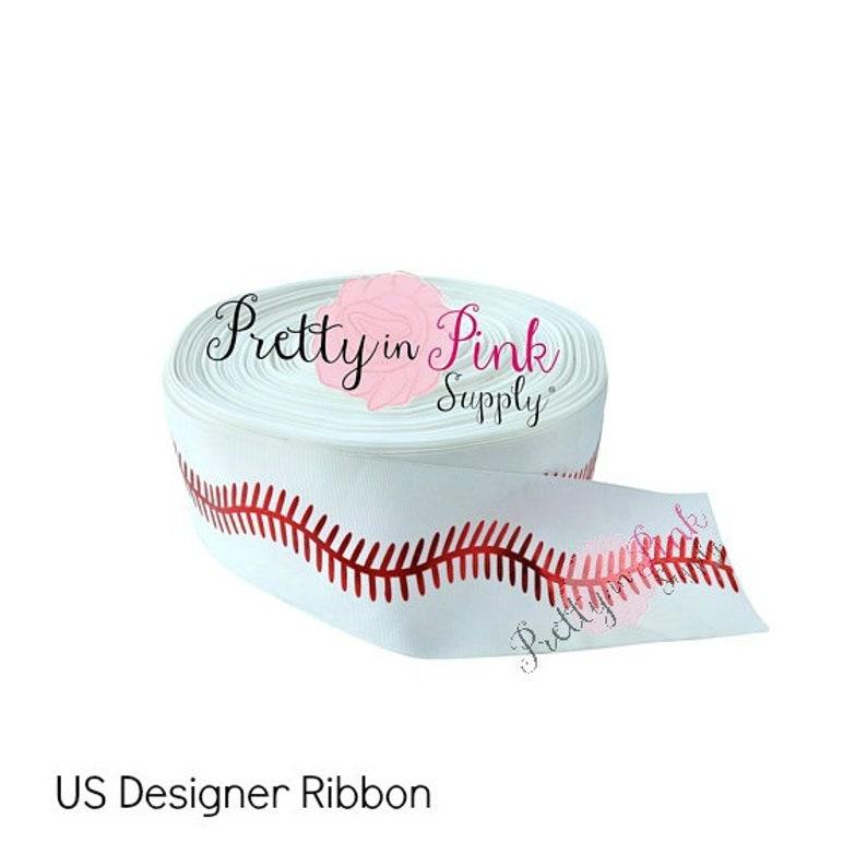 8bad83dfee60 3 Baseball Grosgrain RIBBON 3 Grosgrain Ribbon
