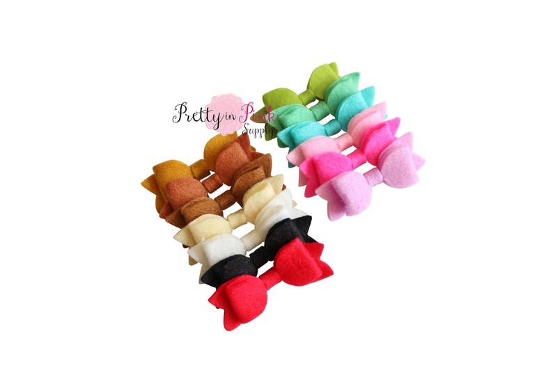 Ivory Tiny Soft Felt Bow Hair Bows PrettyinPinkSupply Supply Shop D.I.Y Flowers and Bows D.I.Y Supply Supplies Headbands
