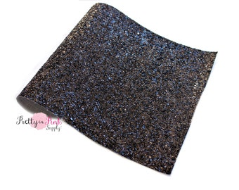 Black Chunky Glitter Fabric Sheet-Faux Leather Fabric Sheet-Glitter Fabric Sheet-A4 or A5 Glitter Fabric Leather-DIY Hair Bows 1mm Thick