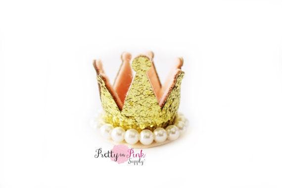 Gold Juwel Center mit Perle Glitter Filz Kronen DIY 1. Geburtstag Foto Prop Stirnband Haar Clip Versorgung unfertigen DIY Krone Versorgung