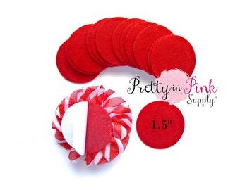 """Red Felt Circles- 1.5"""" Felt Circles- Self Adhesive Felt Circle- 1.5 Inch Felt Circles- Die Cut Felt Circle- Wool Felt Circle- Wholesale"""