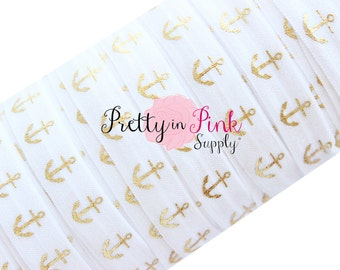 ANCHORS -White with Gold Metallic Print - Fold Over Elastic- Foe- Elastic by the Yard- Fold over Elastic-  5/8""