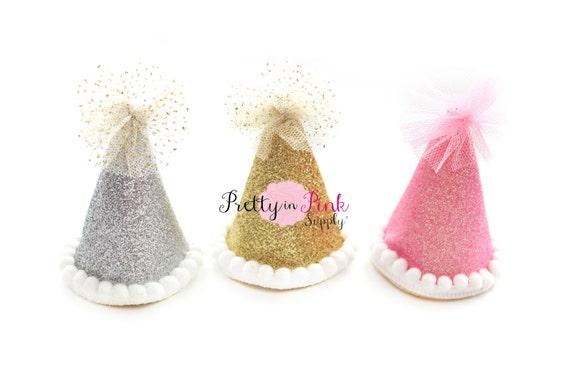2 mini glitter party hat you choose style diy 1st etsy