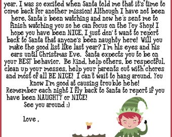 picture about Elf on the Shelf Goodbye Letter Free Printable known as Elf goodbye letter Etsy