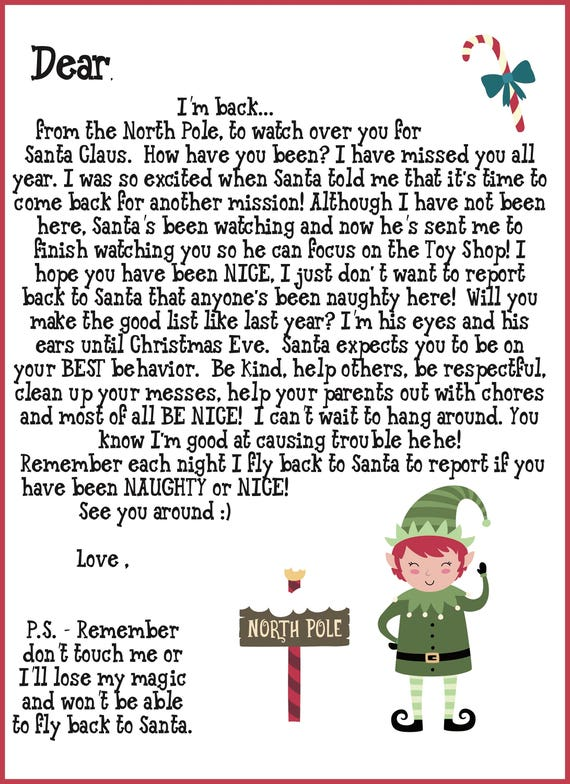 Elf On The Shelf Welcome Back Letter Printable.Elf Shelf Printable Notes Includes Welcome Goodbye Letters And First Time Elf Visit 40 Notes A Full List Of Ideas And Elf Twister