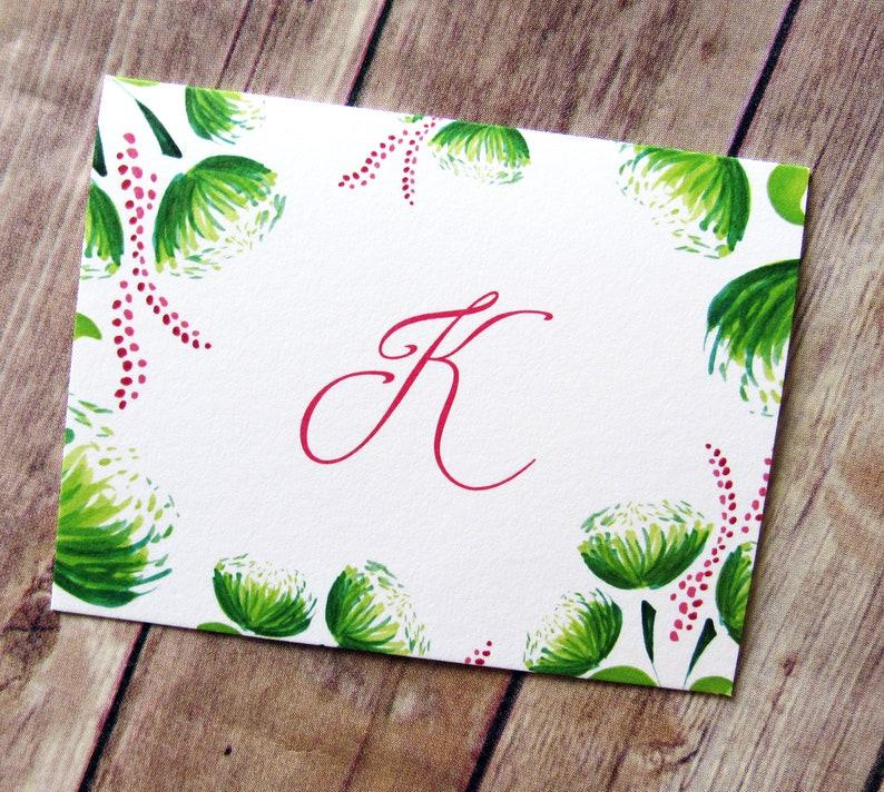 Monogrammed K Cards  Letter K  Stationery  Monogrammed Cards  Monogrammed Stationery  Hand Drawn Florals  Folded Note Cards  Letters