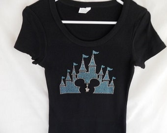 Disney Castle With Mickey Head Womens Rhinestone T Shirt It Comes A Removable Minnie Charm Or Choose From The 2nd Picture