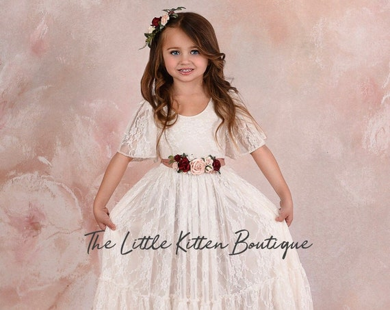 tulle flower girl dress, rustic lace flower girl dresses, ruffle sleeve flower girl dress, boho flower girl dress, ivory flower girl dress