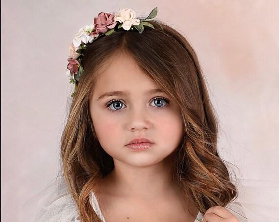 Blush flower girl dress, Tulle flower girl dress, rustic lace flower girl dress, White Boho flower girl dress, wedding flower hair wreath,