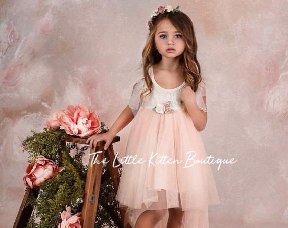 Flower girl dress, flower girl dress tulle, flower girl dress lace, high low girls dress, boho flower girl dress, flower girl dress toddler