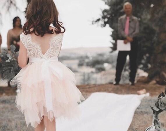 Sleeveless Flower Girl Dress,  Blush Tulle Flower Girl Dress,  Pink Flower Girl Dress,  Lace Country Girls Dress, girls tutu birthday dress