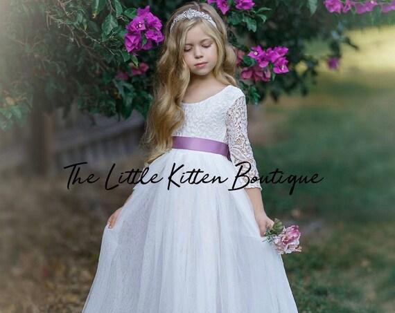 Tulle flower girl dress, lace flower girl dress, flower girl dress, boho flower girl dress, ivory flower girl dress, flower girl dresses
