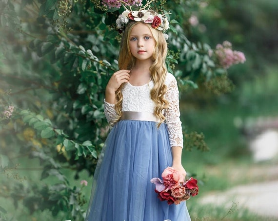 tulle flower girl dress, rustic lace flower girl dresses, long sleeve flower girl dresses, boho flower girl dress, dusty blue flower girl