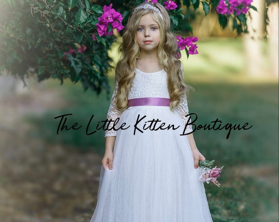 Tulle flower girl dress, lace flower girl dresses, first communion dress, flower girl dress, ivory flower girl dress, white Baptism Dress,
