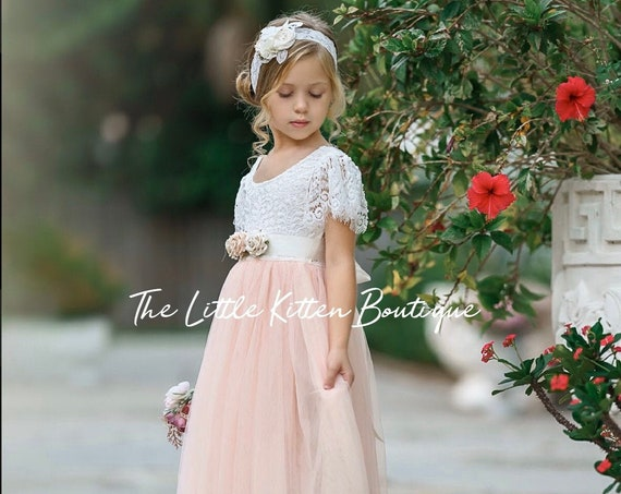 Flower Girl Dress, Tulle flower girl dress, lace flower girl dress, boho flower girl dress, ivory flower girl dress, Blush Flower Girl Dress