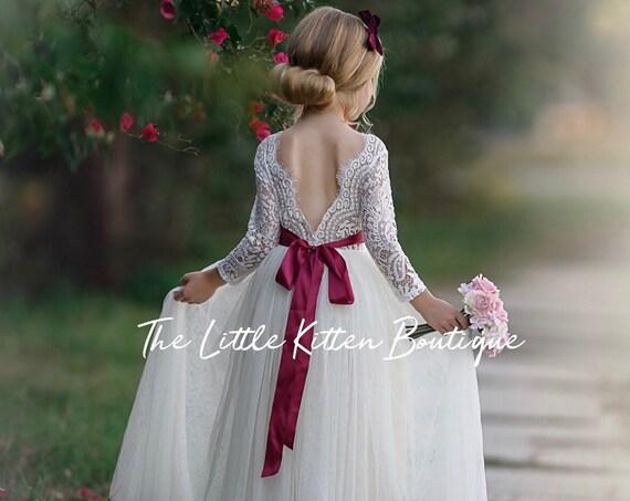 Dusty Rose flower girl dress, Burgundy flower girl dress, long sleeve flower girl dress, tulle flower girl dress, Christmas Dress, Holiday
