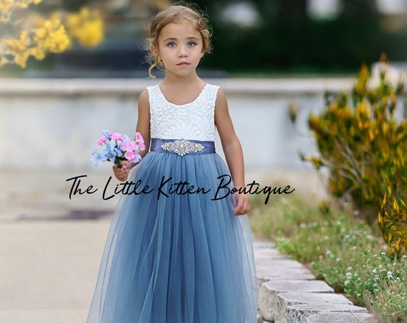 Flower Girl Dress, Lace flower girl dress, tulle flower girl dress, ivory flower girl dress, flower girl dresses, blue flower girl, tulle