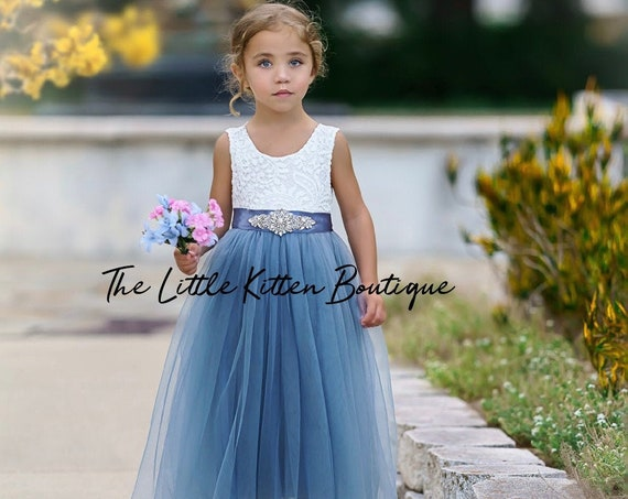 tulle flower girl dress, rustic lace flower girl dresses, bohemian, boho flower girl dress, ivory flower girl dress, blue flower girl dress