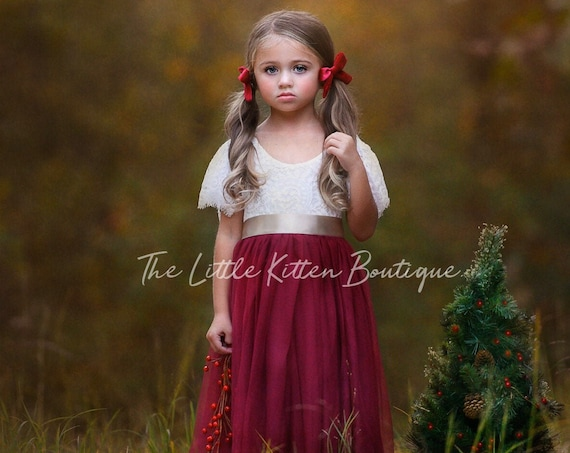 Holiday Dress, Christmas Dress, Tulle flower girl dress, rustic lace flower girl dress, flower girl dress, boho flower girl dress, wedding