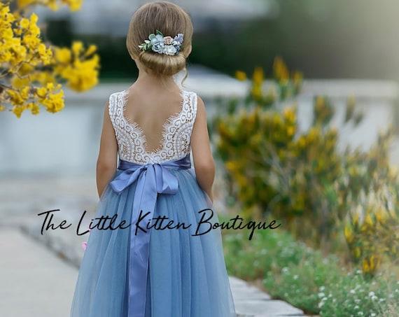 Ivory Flower Girl Dress, Junior Bridesmaid dress, lace flower girl dress, Rustic flower girl dress, Boho Flower Girl Dress, blue flower girl
