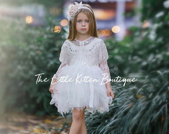 Tulle Flower Girl Dress, Ivory Flower Girl Dress, White Lace Flower Girl Dress, boho flower girl dress, headband, rustic flower girl dress