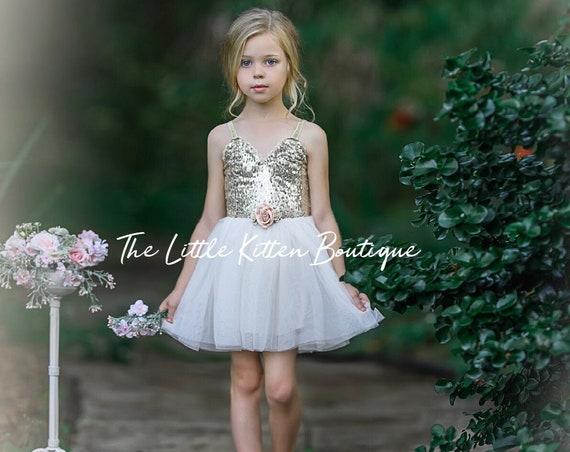 Ivory Tulle Flower Girl Dress, Cream Sequin Wedding Gown, Glitter Boho Chic Beach Gown, Birthday Girl Cake Smash. Princess dress, rose gold