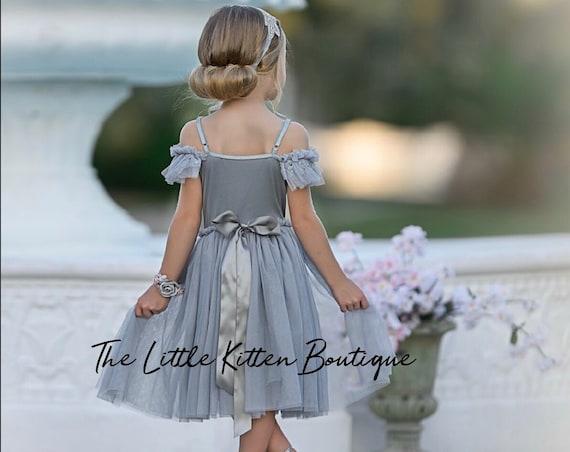 Gray Flower Girl Dress, Tulle Flower Girl Dress, Boho Flower girl dress, party dress, rustic flower girl dress, holiday dress, princess tutu