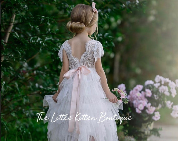 Tulle flower girl dress, ivory flower girl dress, rustic flower girl dress, lace flower girl dress, pink flower girl dress junior bridesmaid