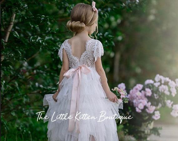 Blush flower girl dress, ivory tulle flower girl dress, white lace flower girl dress, Rustic flower girl dress, Boho flower girl dress, tutu