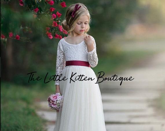 Ivory lace Flower girl dress, Tulle flower girl dresses, long sleeve flower girl dress, rustic flower girl dress, Boho, Princess Dress