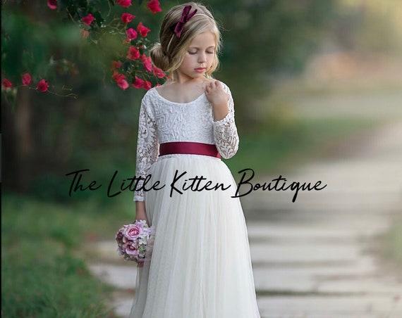 tulle flower girl dress, long sleeve flower girl dress, boho flower girl dress, ivory flower girl dress, dusty rose flower girl dress, Sash