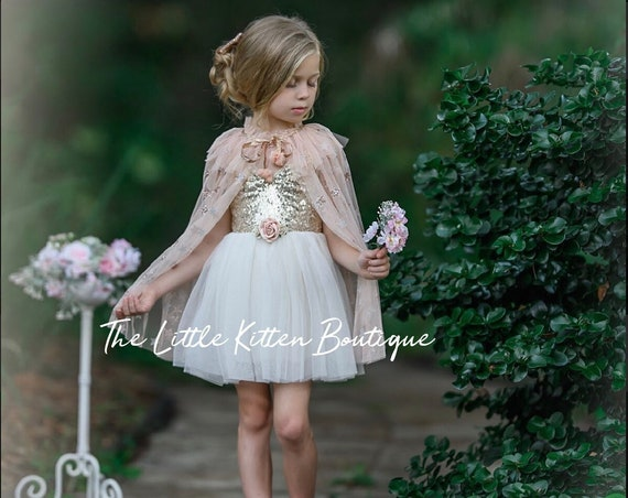 tulle flower girl dress, Ivory Flower Girl, Rustic flower girl dress, Boho flower girl dress, party dress, Blush Flower Girl, holiday dress