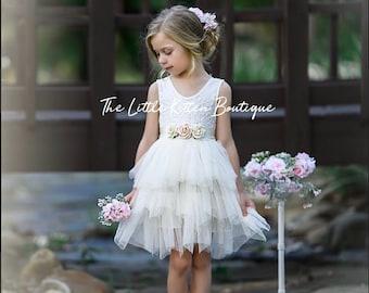 d9e20565b99 Blush pink tulle flower girl dress
