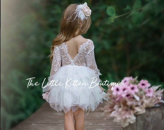 Tulle Flower Girl Dress, Ivory Flower Girl Dress, Long Sleeve Lace Flower Girl Dresses, toddler flower girl Dress, girls dress, boho dress