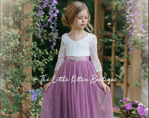 Flower girl dress, flower girl dresses, tulle flower girl dress, long sleeve flower girl dress, Rustic Lace flower Girl Dress, Flower Girl