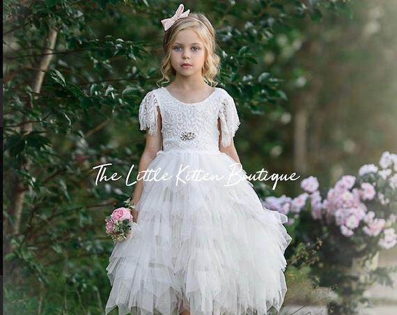 tulle flower girl dress, lace flower girl dress, Rustic flower girl dress, Boho flower girl dress, ivory flower girl, first communion dress