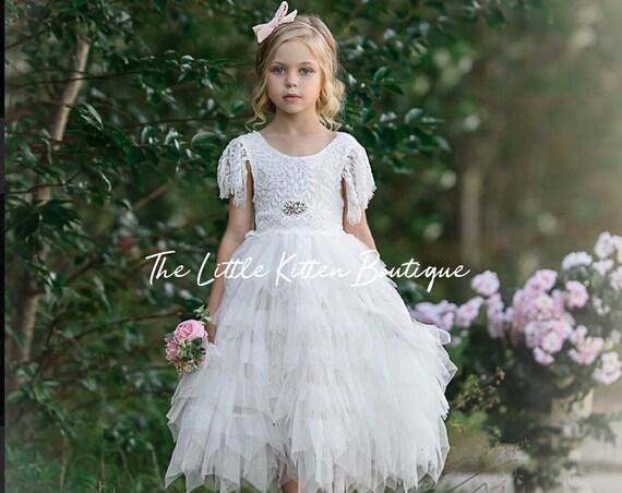 Blush pink tulle flower girl dress, White lace flower girl dress, Rustic flower girl dress, Ivory Boho flower girl dress, Toddler dress tutu