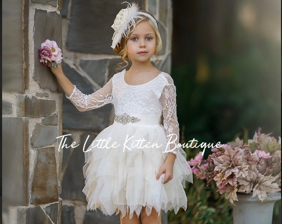 tulle flower girl dress, lace flower girl dress, boho flower girl dress, white flower girl dress, ivory flower girl dress, tulle dress, sash