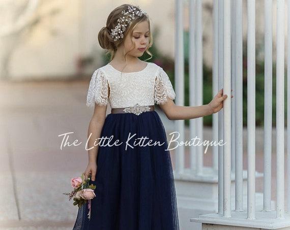 Flower girl dress, tulle flower girl dress, lace flower girl dress, flower girl dress boho, rustic flower girl dress, beach flower girl