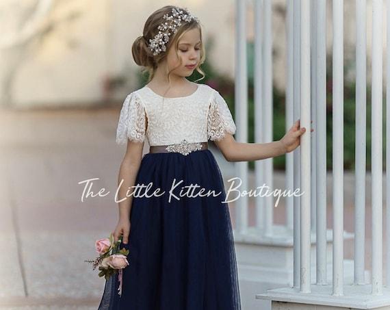 tulle flower girl dress, rustic lace flower girl dresses, bohemian flower girl dresses, boho flower girl dress, ivory flower girl dress