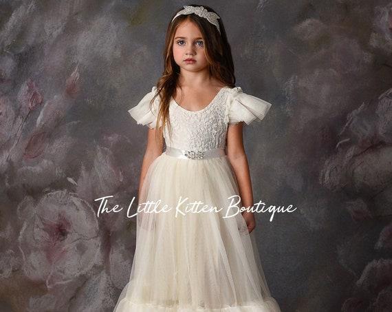 tulle flower girl dress, rustic lace flower girl dress, beach flower girl dress, boho flower girl dress, ivory flower girl dress, white lace