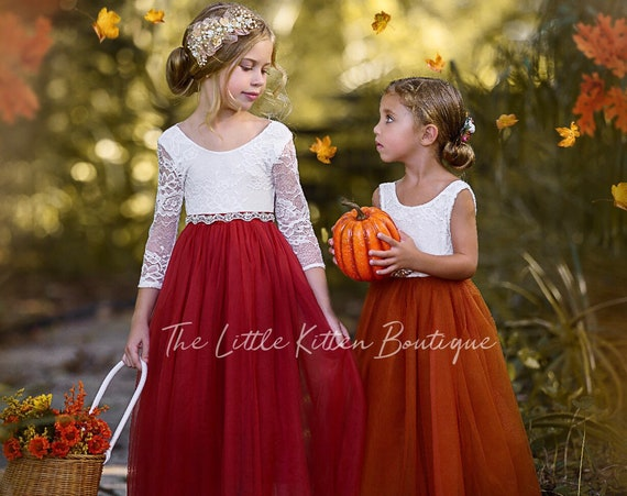 Burnt Orange Flower Girl Dress, Rust Flower Girl Dress, lace flower girl dress, Rustic flower girl dress, Boho Flower Girl Dress, Fall Dress