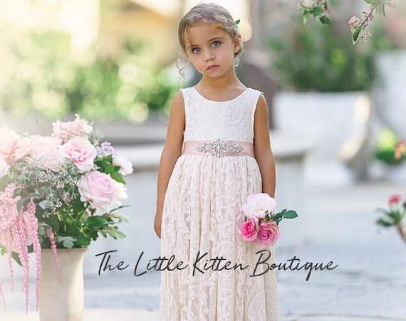 Ivory Lace flower girl dress, White lace flower girl dress, rustic flower girl dress, bohemian flower girl dress, lace flower girl dress
