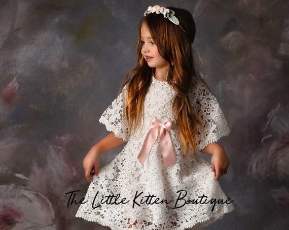 Lace flower girl dress, flower girl dress, boho flower girl dress, white beach flower girl dress, bohemian flower girl dress, baptism,