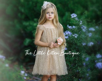 Champagne Tulle Flower Girl Dress, Gold Flower Girl Dress, Flower Girl Dresses, Girls Special Occasion Dress, Birthday dress, holiday dress