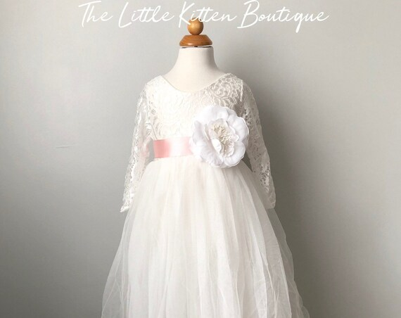 Tulle flower girl dress, Rustic lace flower girl dress, Ivory flower girl dress, Boho flower girl dress, long sleeve flower girl dress, tutu