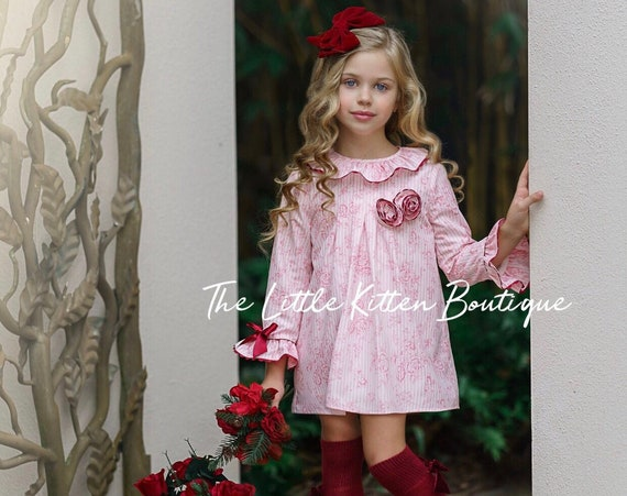 Holiday Dress, Christmas Dress, flower girl dress, Birthday Dress, babydoll dress, long sleeve dress, special occasion dresses, pink dress