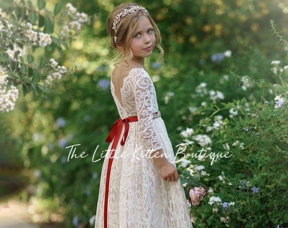 Ivory lace flower girl dress, White lace flower girl dress, rustic lace flower girl dress, boho flower girl dress, wedding dress, bohemian