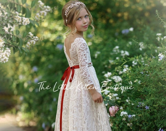 Flower girl dress, long sleeve flower girl dress, rustic flower girl dress, boho flower girl dress, lace flower girl dress, Christmas Dress